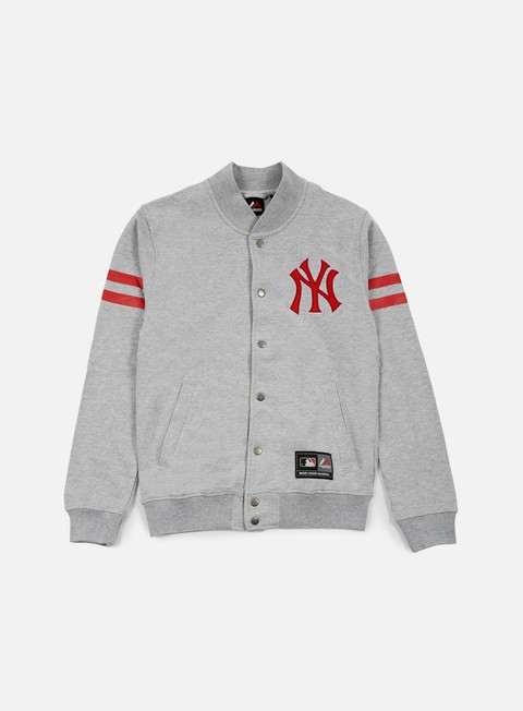 felpe majestic roper fleece letterman ny yankees heather grey