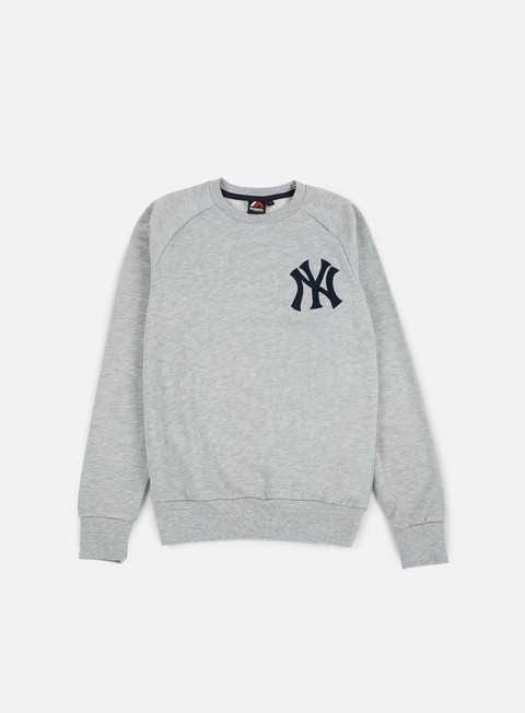 felpe majestic terren loopback crewneck ny yankees heather grey