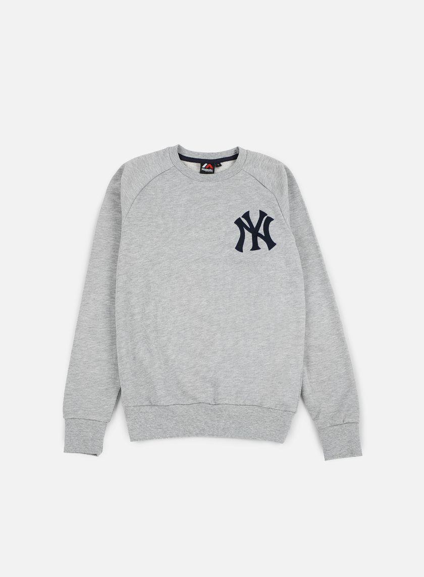 Majestic - Terren Loopback Crewneck NY Yankees, Heather Grey
