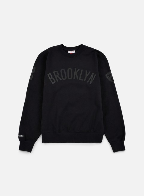 felpe mitchell e ness nba bank shot crewneck brooklyn nets black