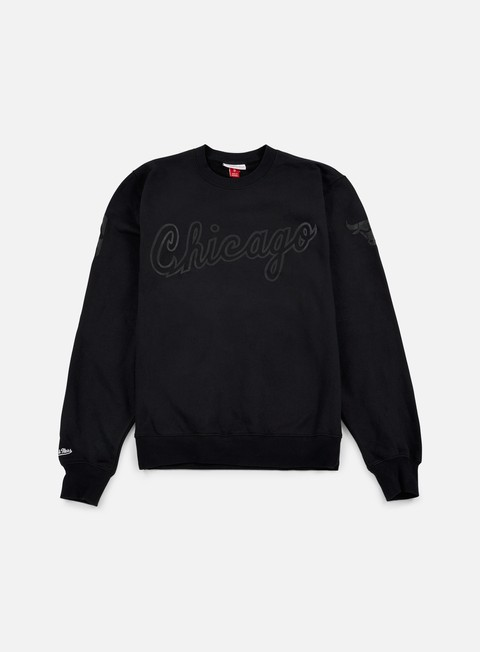 felpe mitchell e ness nba bank shot crewneck chicago bulls black