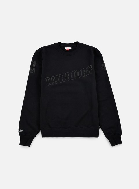 felpe mitchell e ness nba bank shot crewneck golden state warriors black