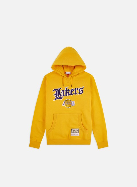 Hoodie Mitchell & Ness NBA Old English Faded Hoodie Los Angeles Lakers