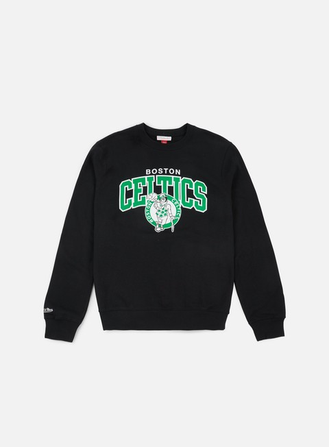 felpe mitchell e ness team arch crewneck boston celtics black