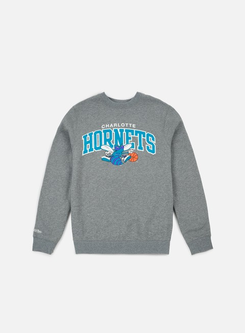 felpe mitchell e ness team arch crewneck charlotte hornets grey