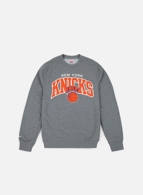 felpe mitchell e ness team arch crewneck ny knicks grey