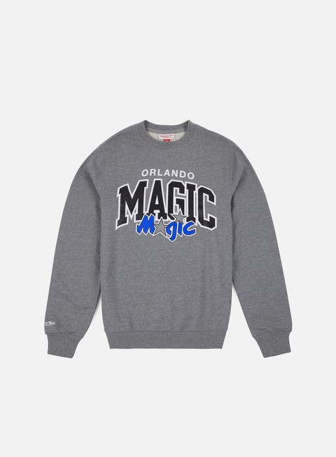 felpe mitchell e ness team arch crewneck orlando magic grey