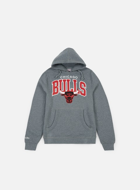 felpe mitchell e ness team arch hoody chicago bulls grey