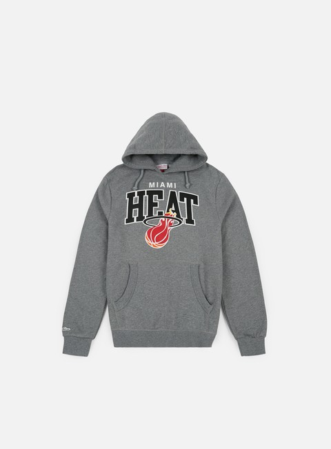 felpe mitchell e ness team arch hoody miami heat grey