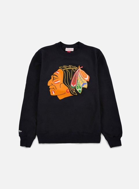 felpe mitchell e ness team logo crewneck chicago blackhawks black