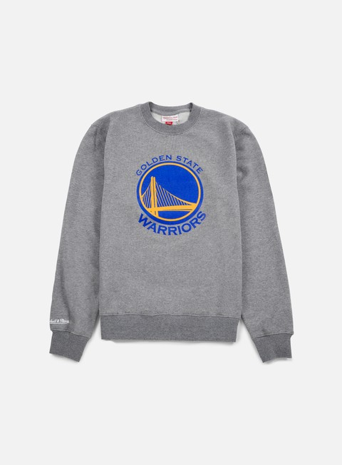 felpe mitchell e ness team logo crewneck golden state warriors grey