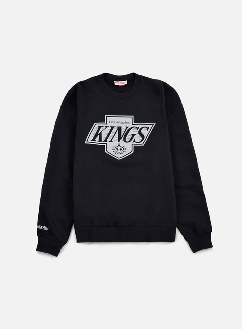 felpe mitchell e ness team logo crewneck la kings black