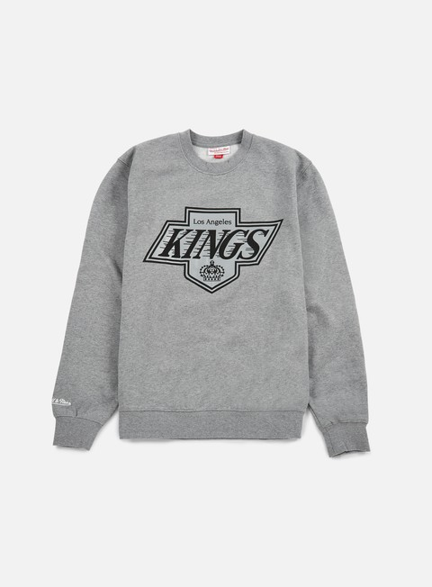 felpe mitchell e ness team logo crewneck la kings grey