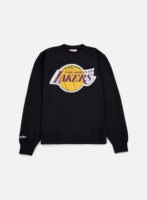 felpe mitchell e ness team logo crewneck la lakers black
