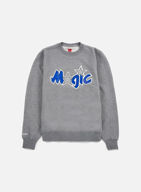 felpe mitchell e ness team logo crewneck orlando magic grey