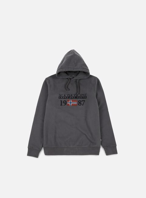 felpe napapijri berthow hoodie dark grey solid