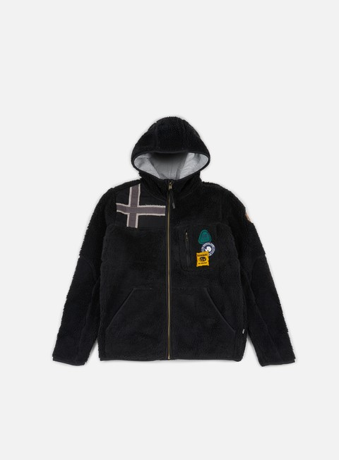 felpe napapijri yupik hooded zip pile black