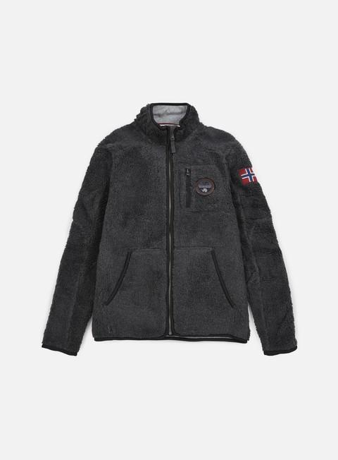 felpe napapijri yupik stand solid jacket dark grey melange