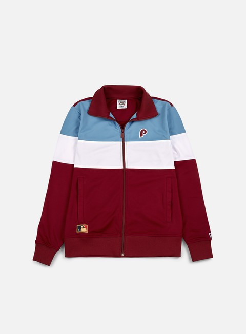 felpe new era border edge track top philadelphia phillies claret