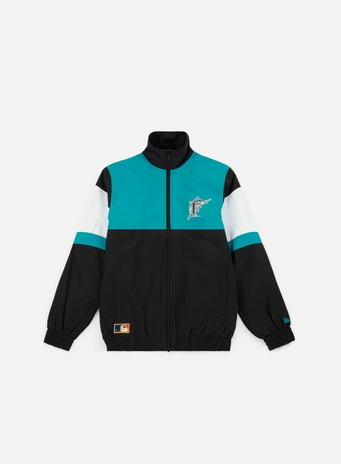 felpe new era mlb coast 2 coast track jacket florida marlins black teal