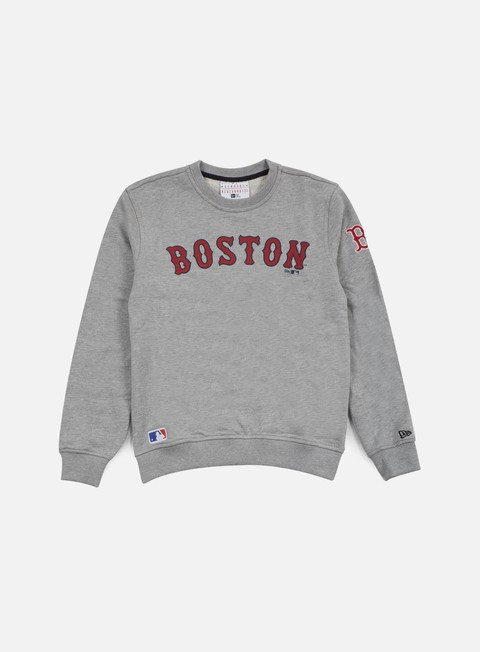 felpe new era mlb crewneck boston red socks light grey heather