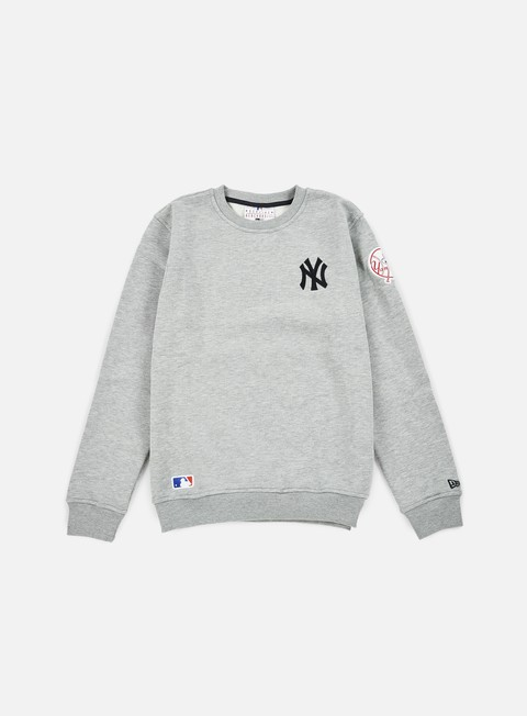 felpe new era mlb patch crewneck ny yankees heather grey