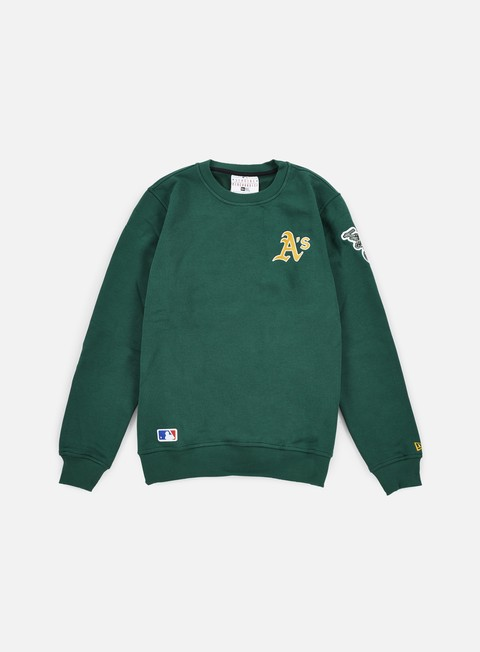 felpe new era mlb patch crewneck oakland athletics dark green