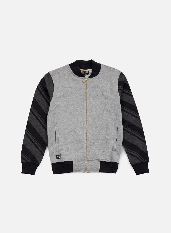 New Era - Neue Luxx French Terry Varsity Jacket, Light Grey Heather