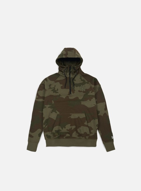 felpe new era ntc half zip hoodie ny yankees olive green