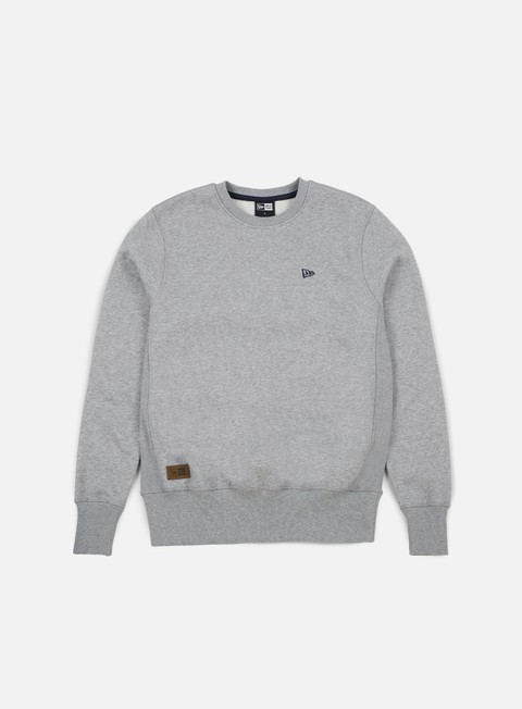 felpe new era premium classics fleece crewneck light grey heather