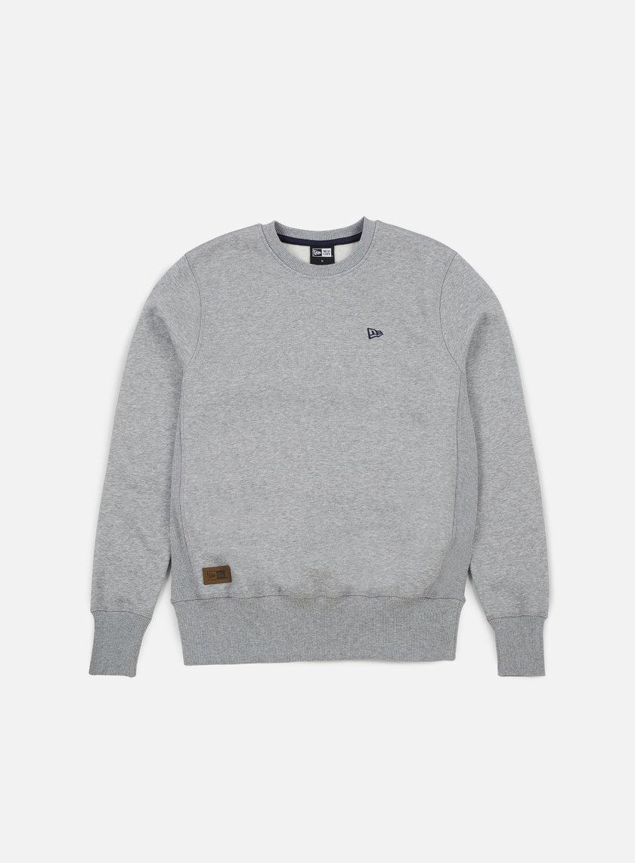 New Era - Premium Classics Fleece Crewneck, Light Grey Heather