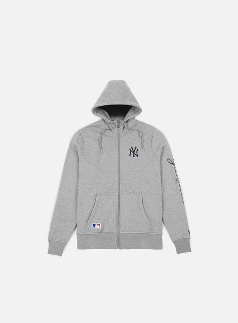 felpe new era team apparel full zip hoody ny yankees light grey heather