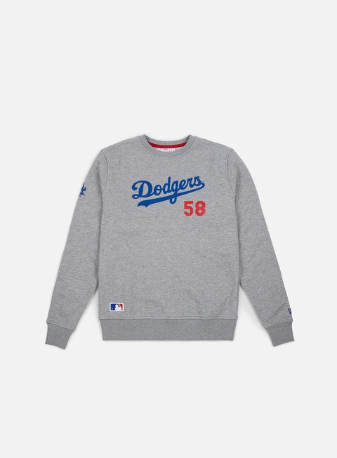 felpe new era team apparel script crewneck los angeles dodgers light grey heather