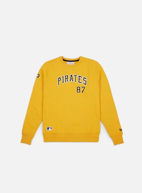 felpe new era team apparel script crewneck pittsburgh pirates gold
