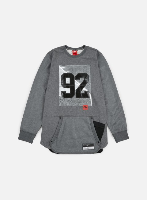 felpe nike 92 air crewneck dark grey heather black
