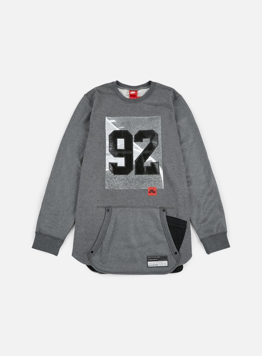 Nike - 92 Air Crewneck, Dark Grey Heather/Black