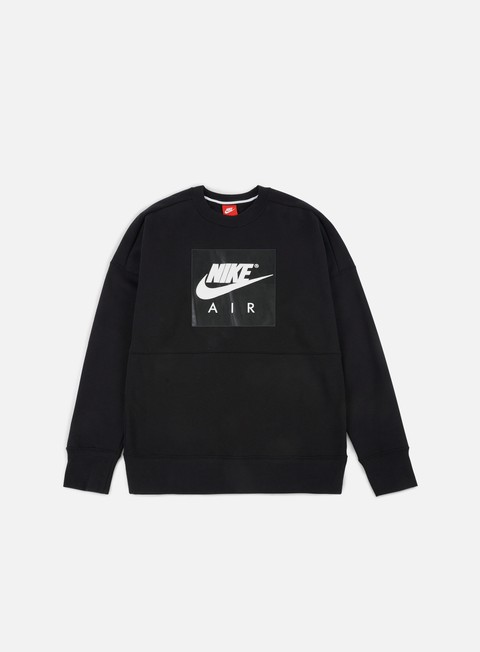 felpe nike air fleece crewneck black white