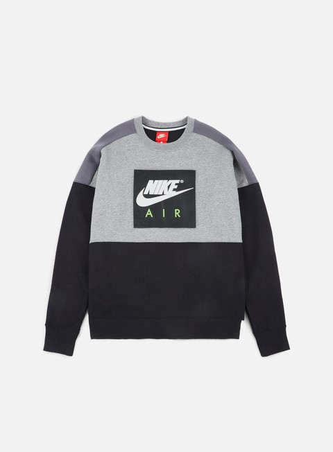 felpe nike air fleece crewneck carbon heather blac