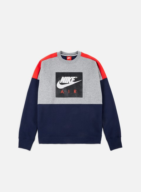 felpe nike air fleece crewneck carbon heather university red