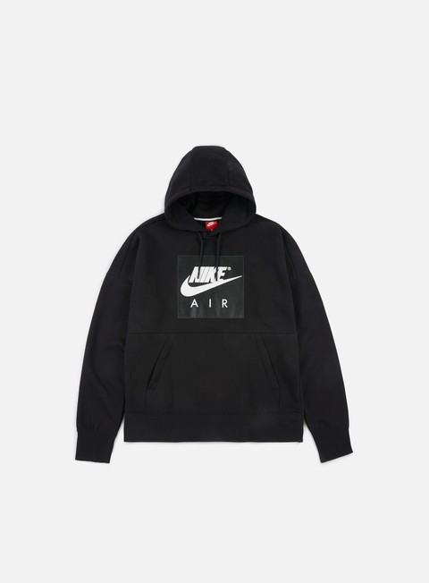 felpe nike air fleece hoodie black white