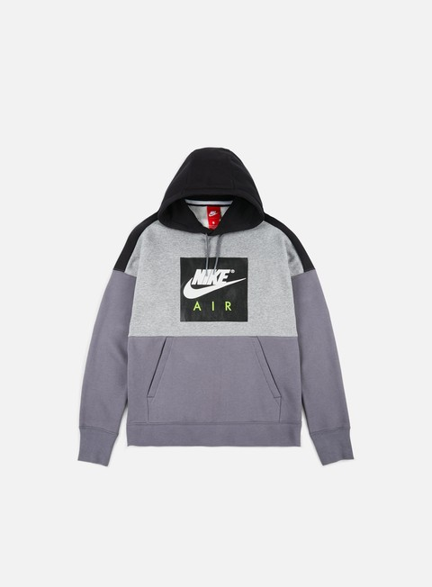 felpe nike air fleece hoodie carbon heather black