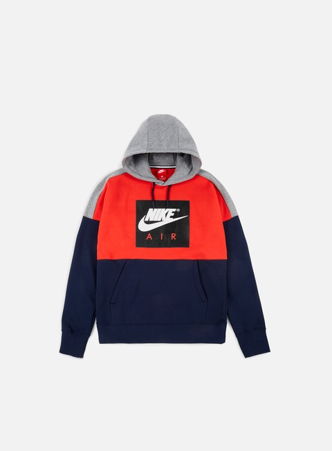 felpe nike air fleece hoodie university red white