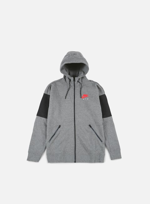 felpe nike air full zip hoodie carbon heather anthracite