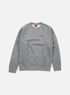 Nike - Air Heritage Crewneck, Carbon Heather/Bright Crimson