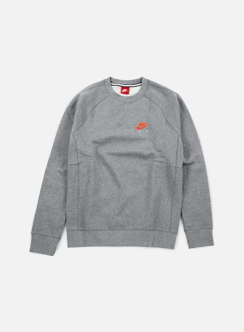 felpe nike air heritage crewneck carbon heather bright crimson