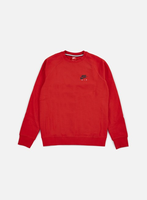 felpe nike air heritage crewneck university red black