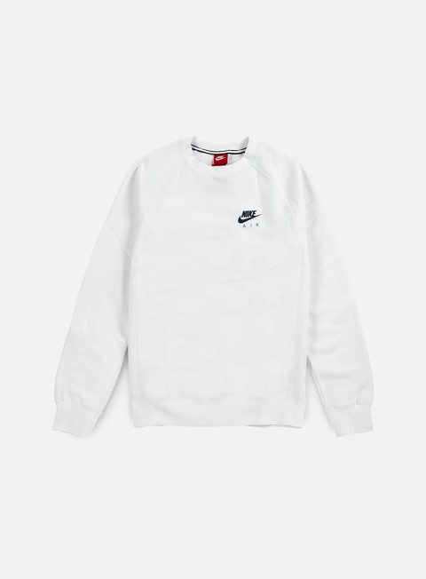 felpe nike air heritage crewneck white coastal blue