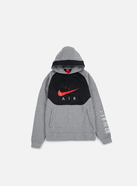 felpe nike air hybrid basketball hoodie carbon heather university red