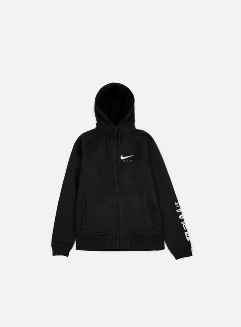 felpe nike air hybrid full zip hoodie black white