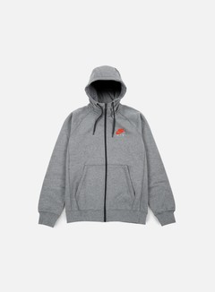 Nike - Air Hybrid Full Zip Hoodie, Carbon Heather/Bright Crimson